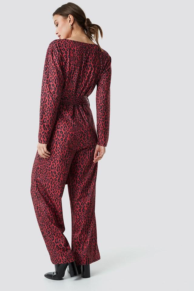 Leo Wrap Jumpsuit Red Leopard