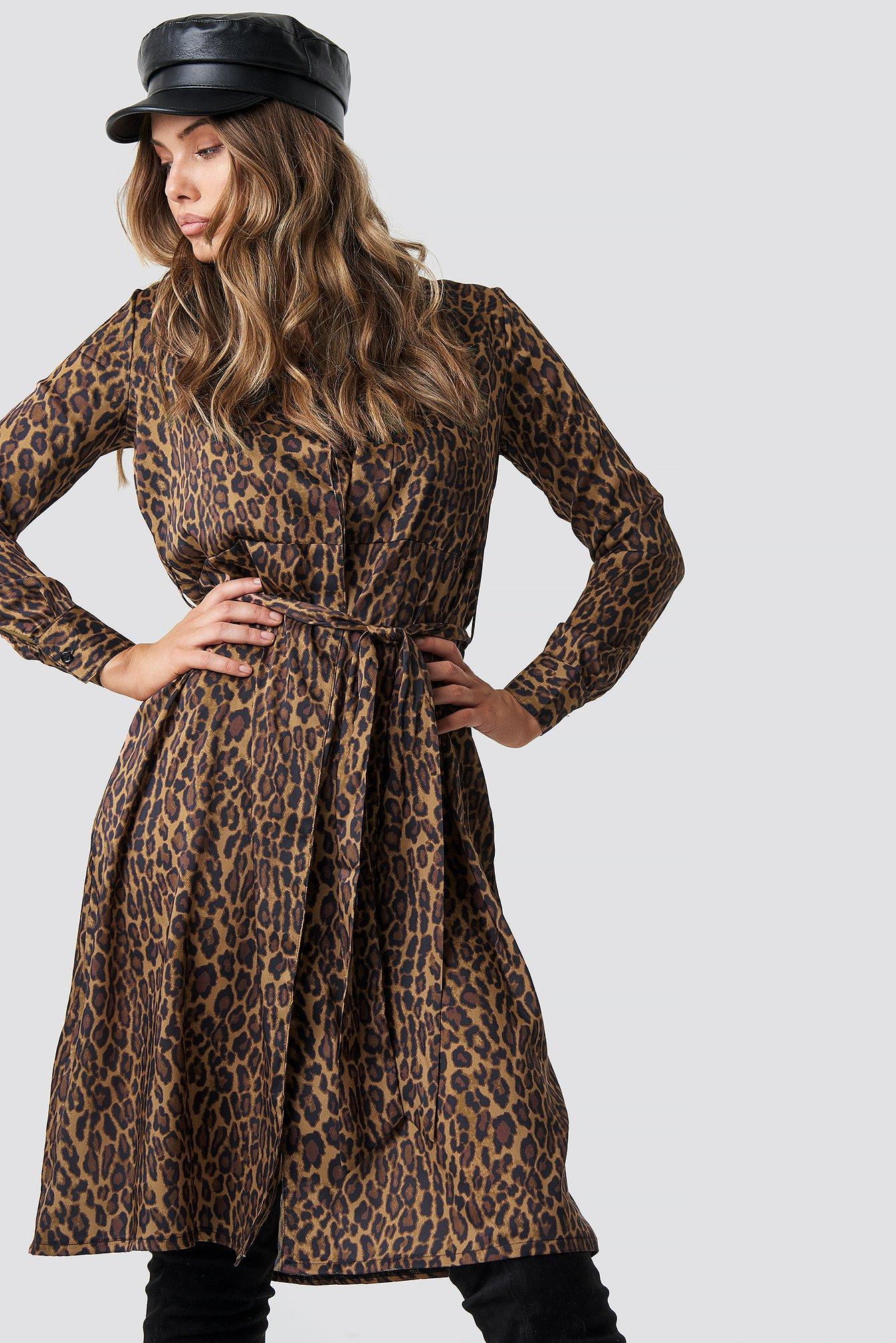 na-kd trend -  Leopard Print Satin Dress - Brown
