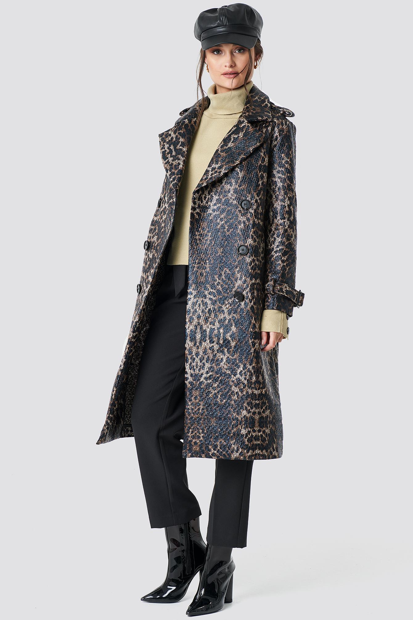 na-kd trend -  Leopard Belted Coat - Multicolor