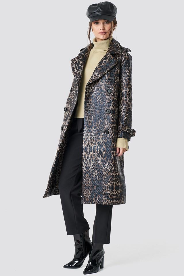 Leopard Belted Coat Brown Leopard