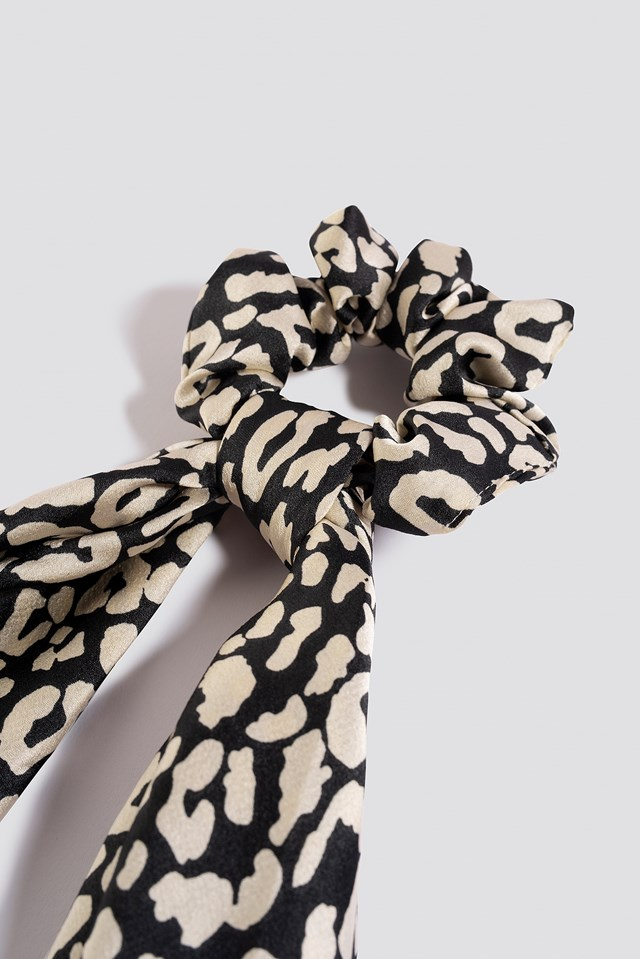 Leopard Bow Scrunchie Black/White