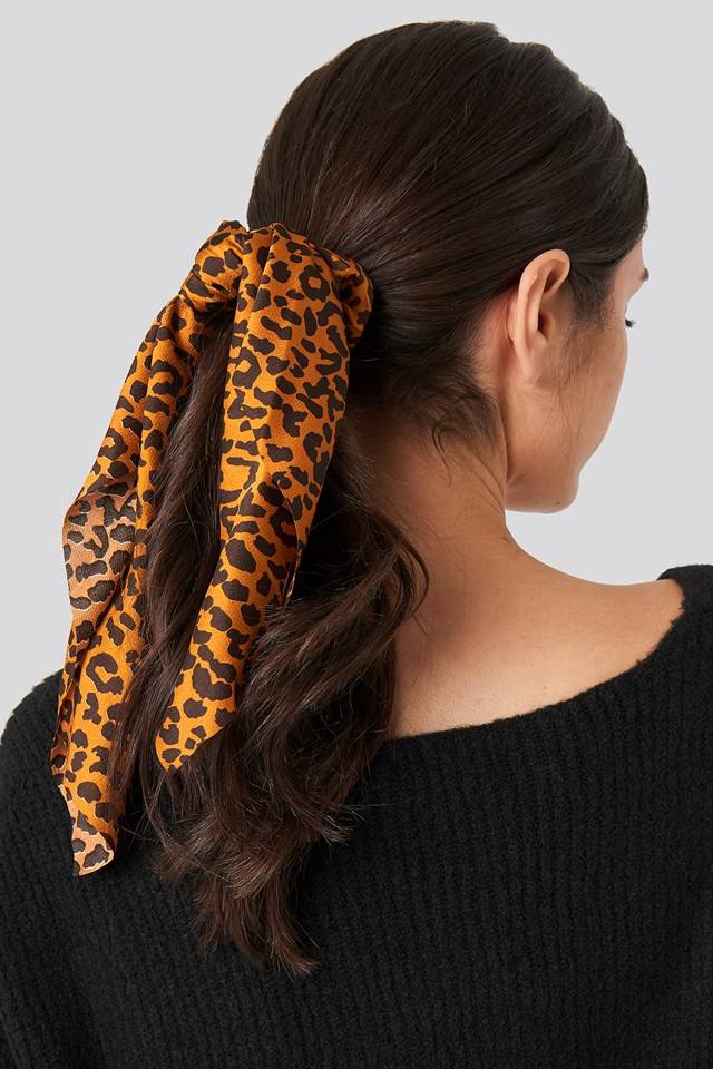 Leopard Bow Scrunchie Terracotta