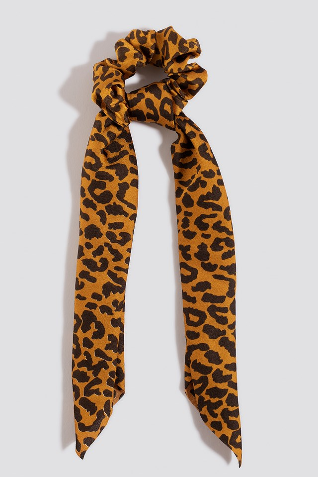 Leopard Bow Scrunchie Terracotta