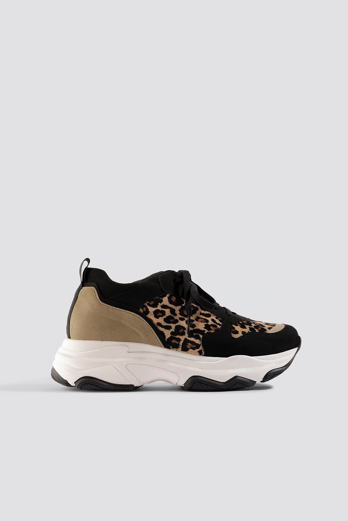 na-kd shoes -  Leopard Chunky Trainers - Black,Brown,Multicolor