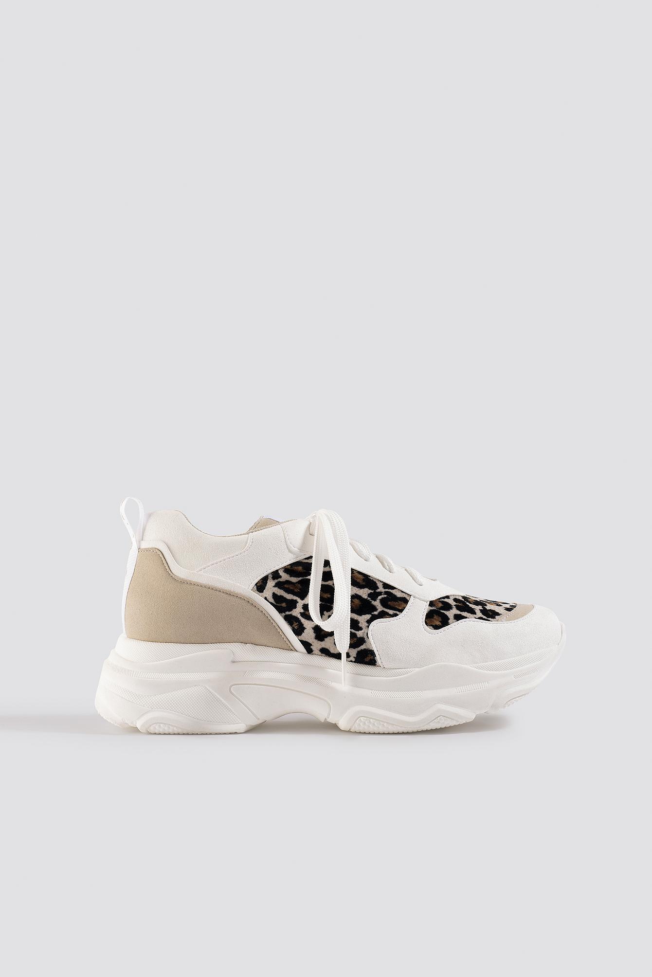 Leopard Chunky Trainers White | na-kd.com