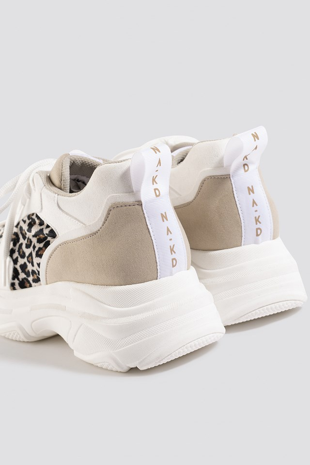 Leopard Chunky Trainers White/Leopard