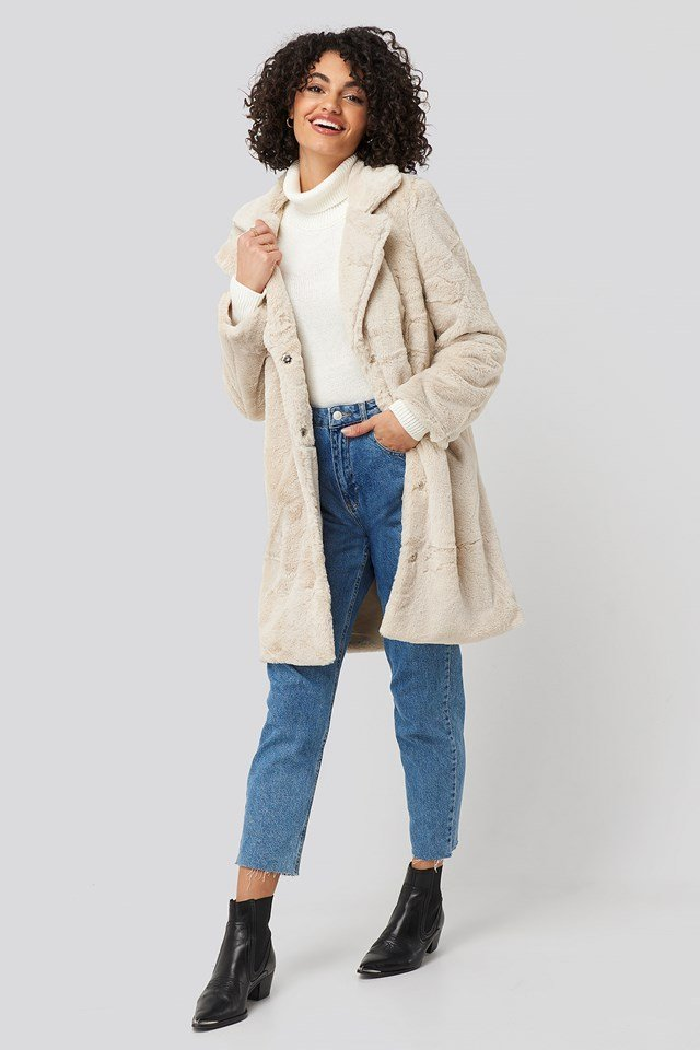Leopard Faux Fur Jacket Ivory
