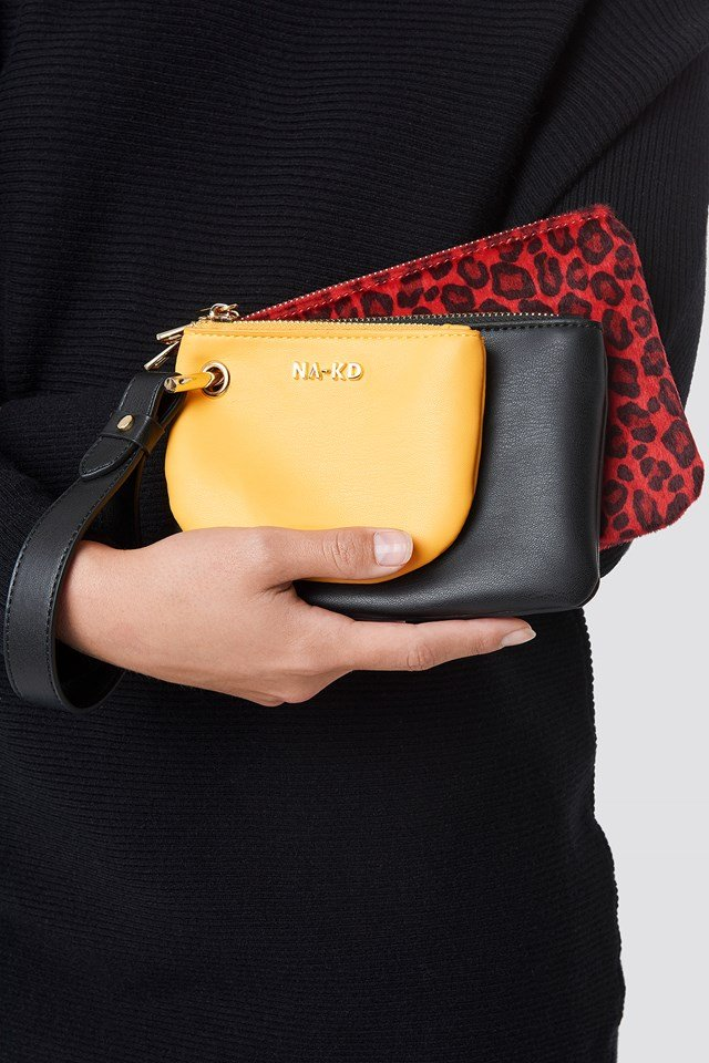 Leopard Layered Clutch Bag Red
