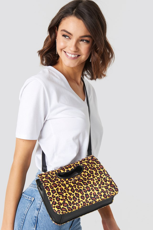 Leopard Mini Tote Cut-Out Handle Yellow