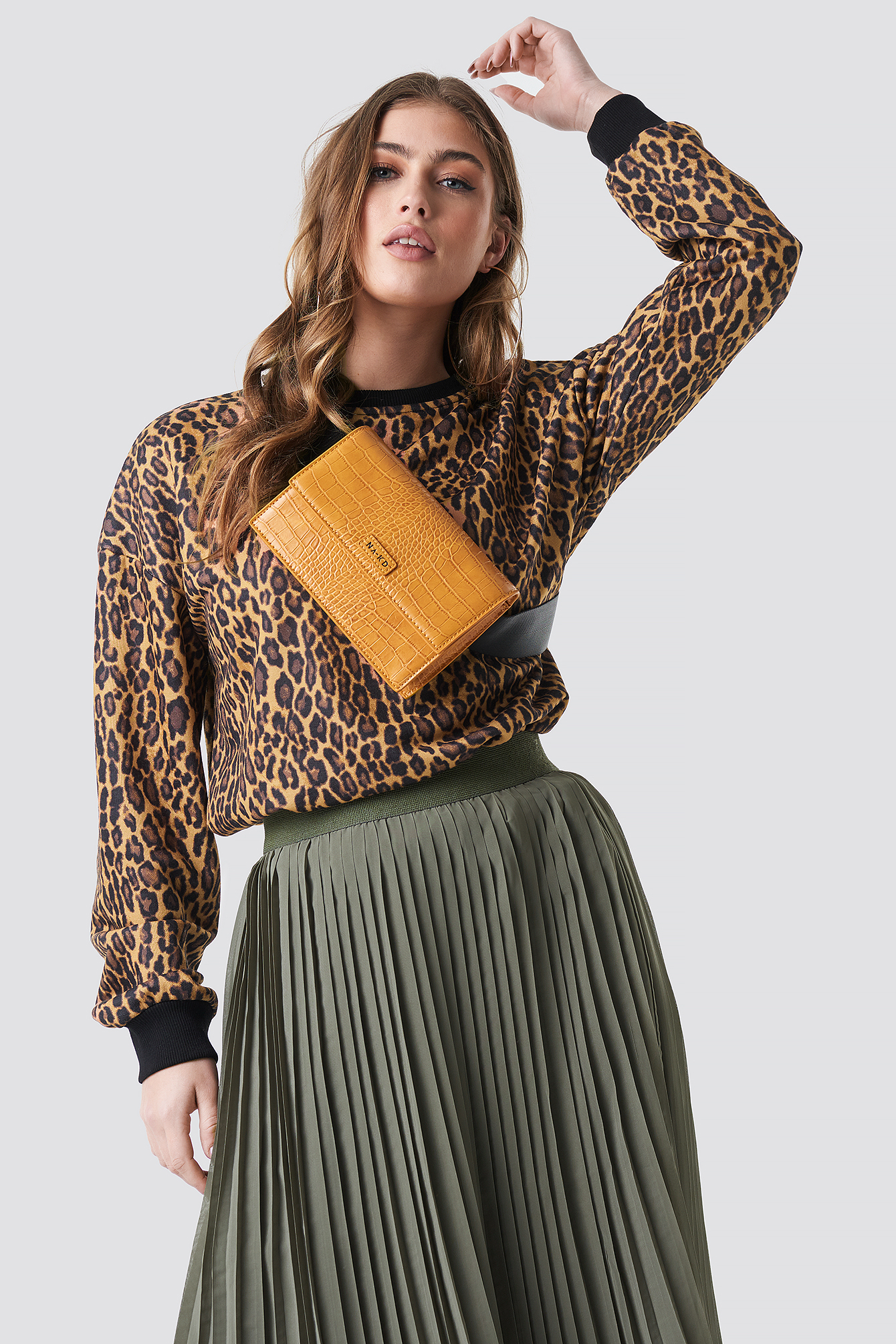 na-kd -  Leopard Oversize Sweatshirt - Brown,Beige