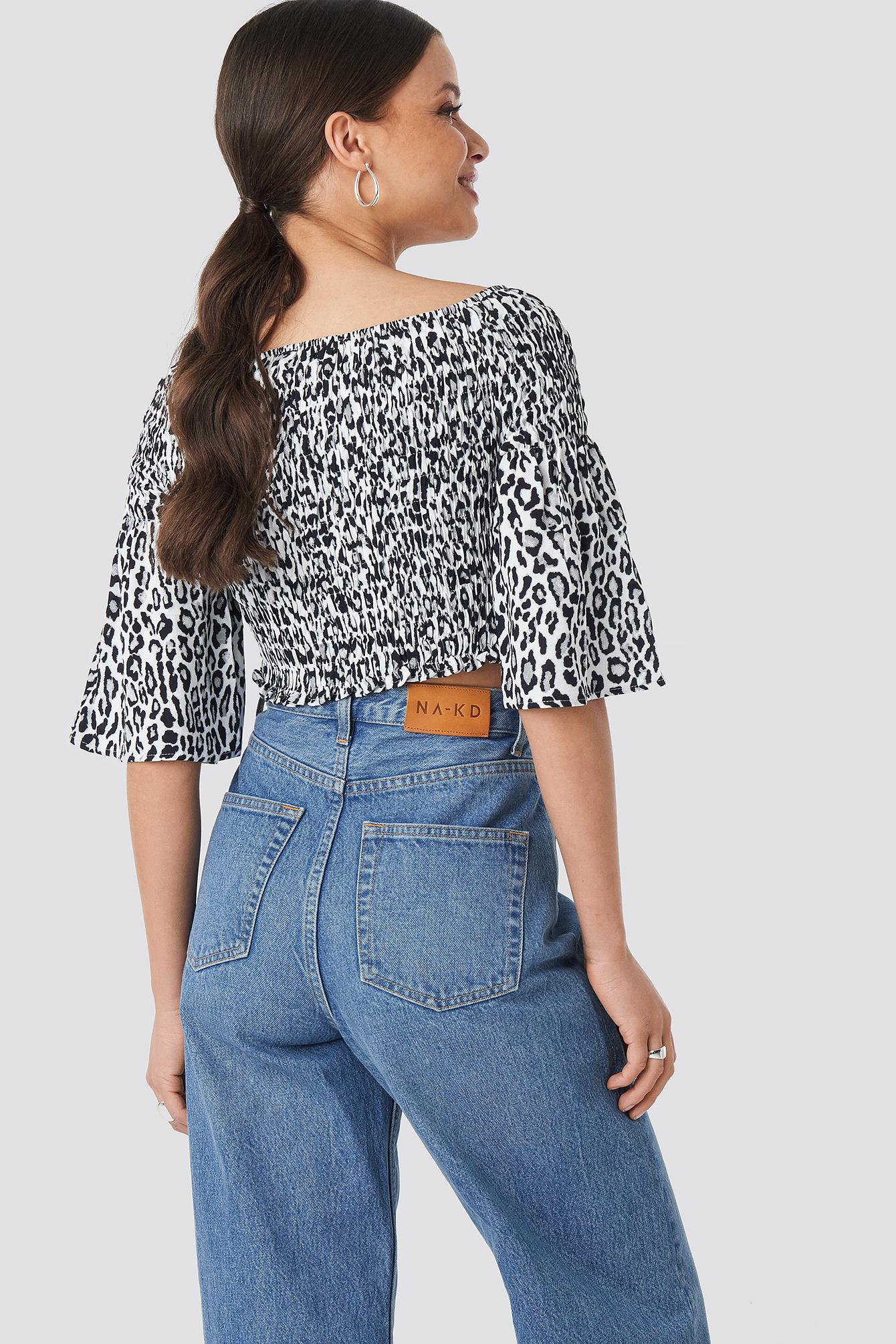 Leopard Print Bardot Smock Top NA-KD.COM