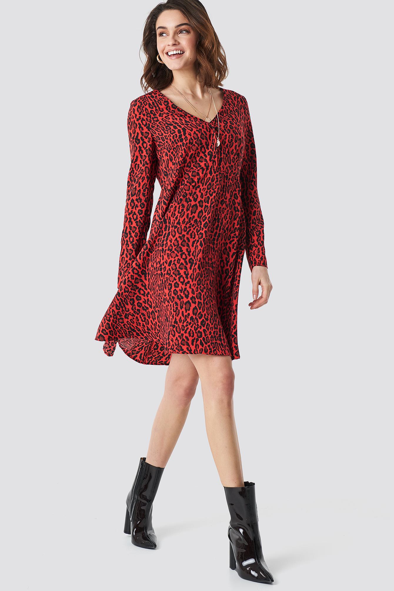 na-kd -  Leopard Print Button Up Ls Dress - Red
