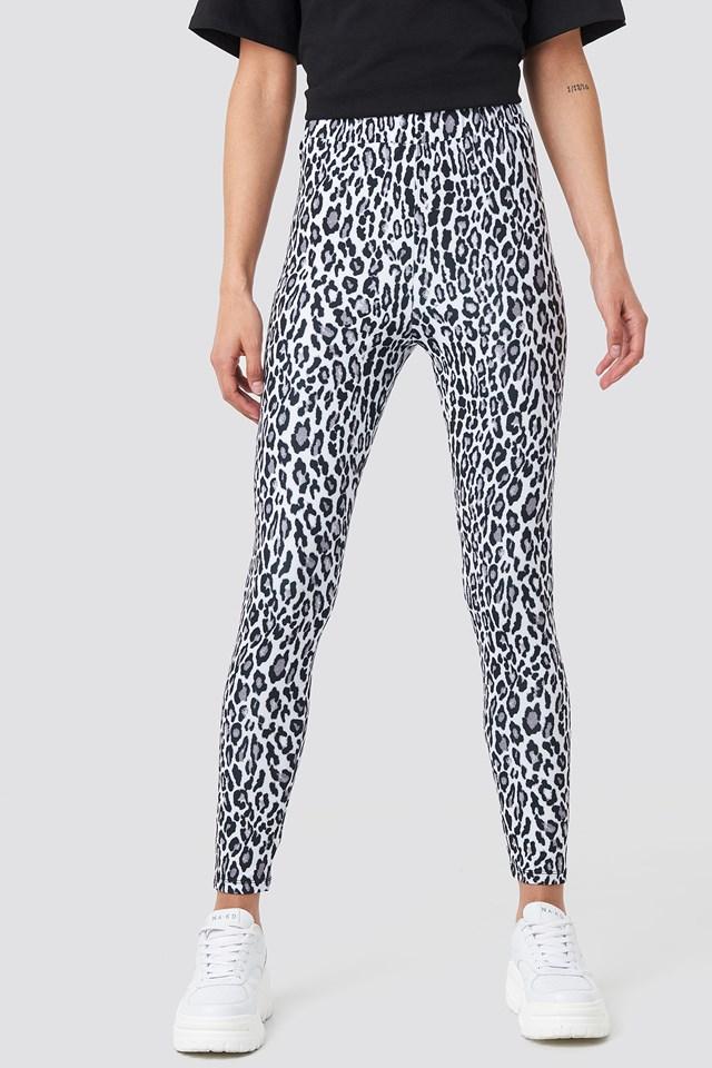 Leopard Print Leggings BLACK  WHITE LEO