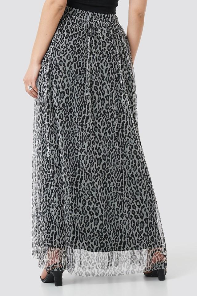 Leopard Print Mesh Maxi Skirt BLACK  WHITE LEO