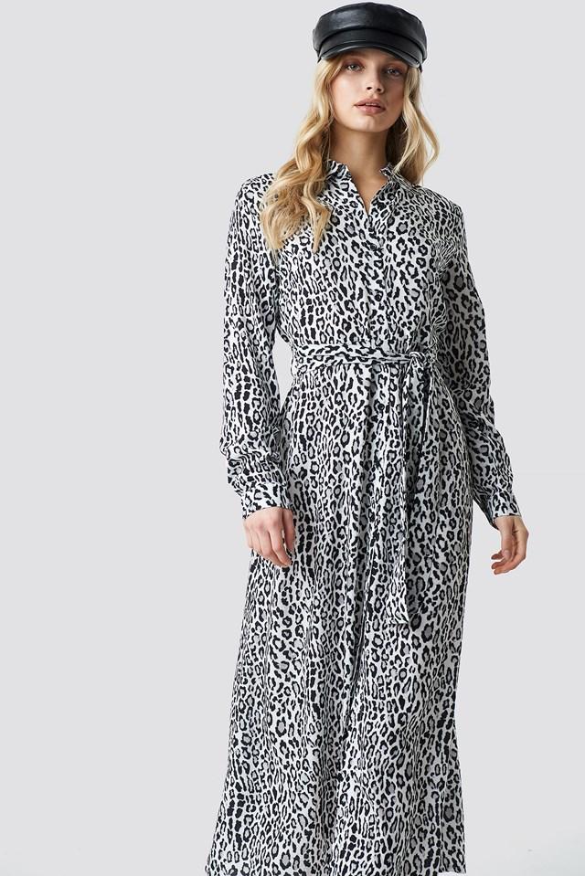 Leopard Printed Shirt Dress Leo White