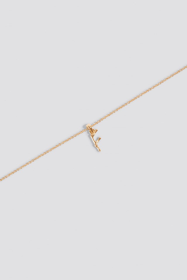 Letter Charm Necklace Gold