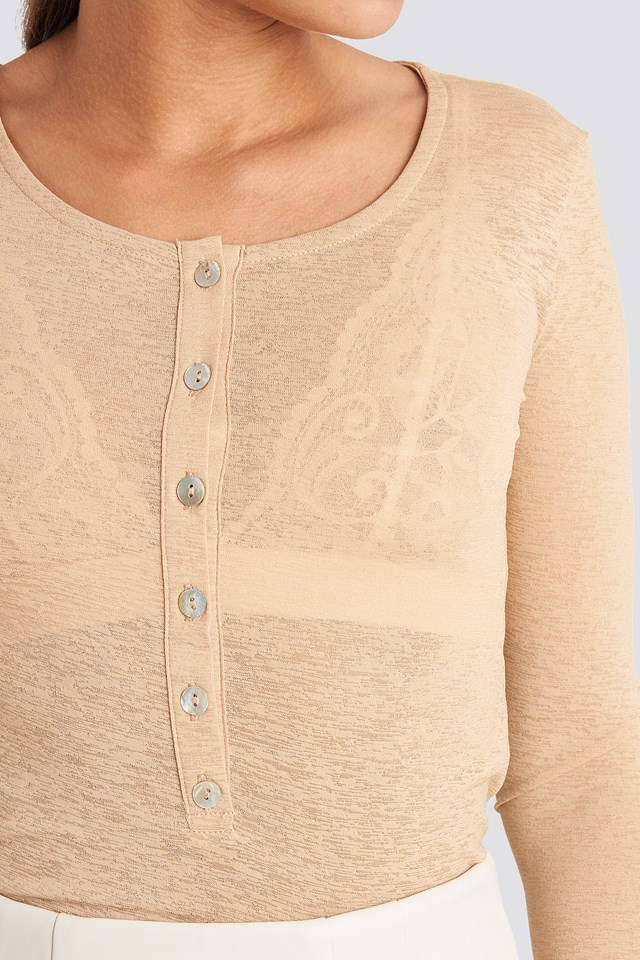 Light Button Up Long Sleeve Top Beige