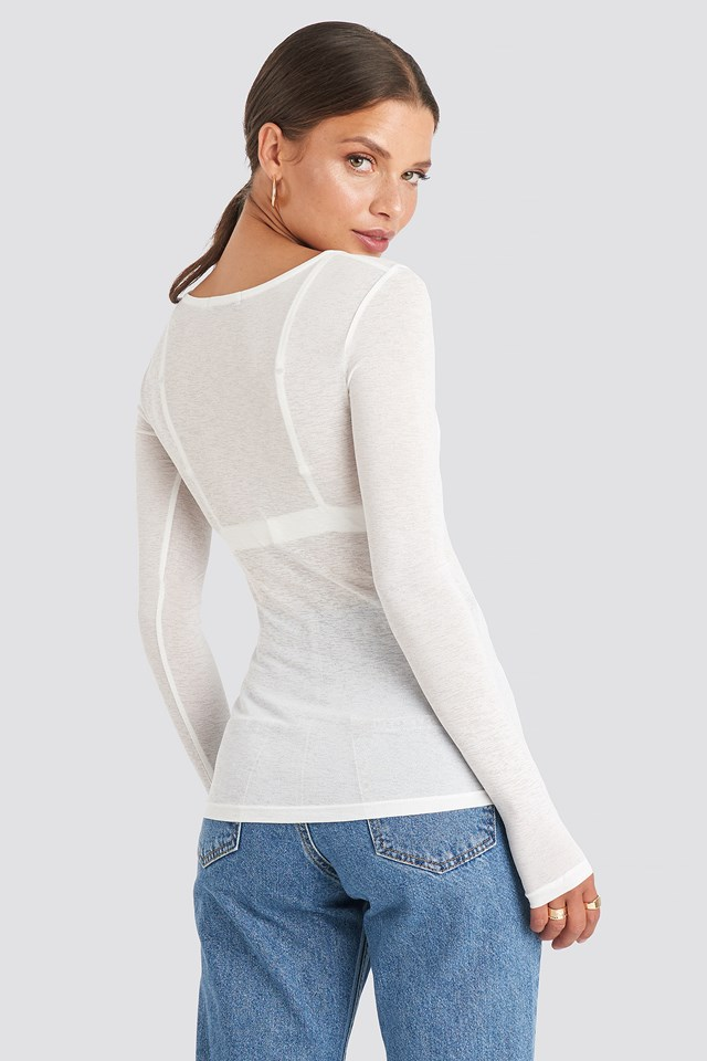 Light Button Up Long Sleeve Top Offwhite