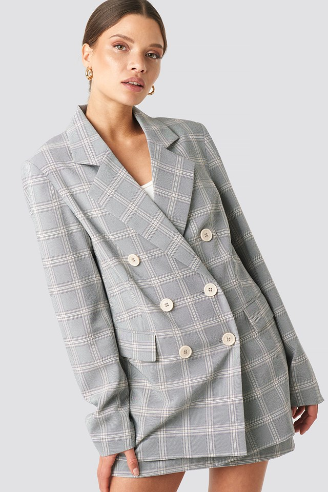 Light Checkered Double Breasted Blazer Light Blue