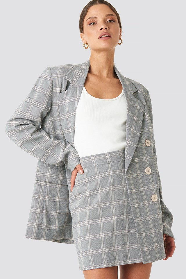 Light Checkered Double Breasted Blazer NA-KD Classic