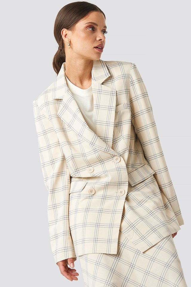 Light Checkered Long Blazer Cream