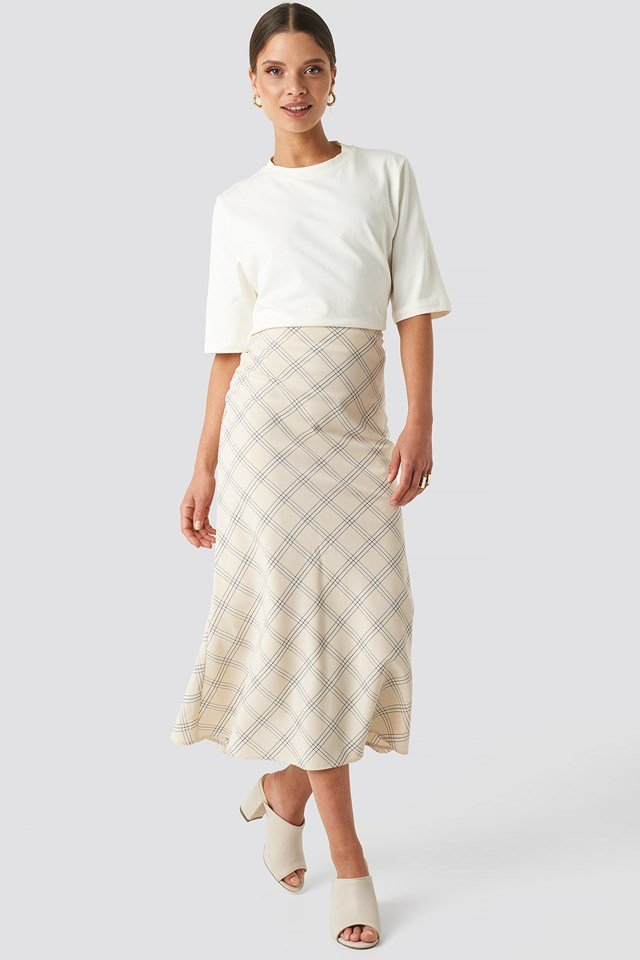 Light Checkered Midi Skirt Cream