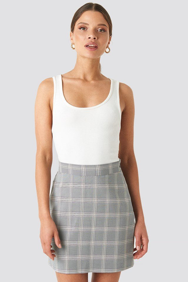 Light Checkered Mini Skirt Light Blue