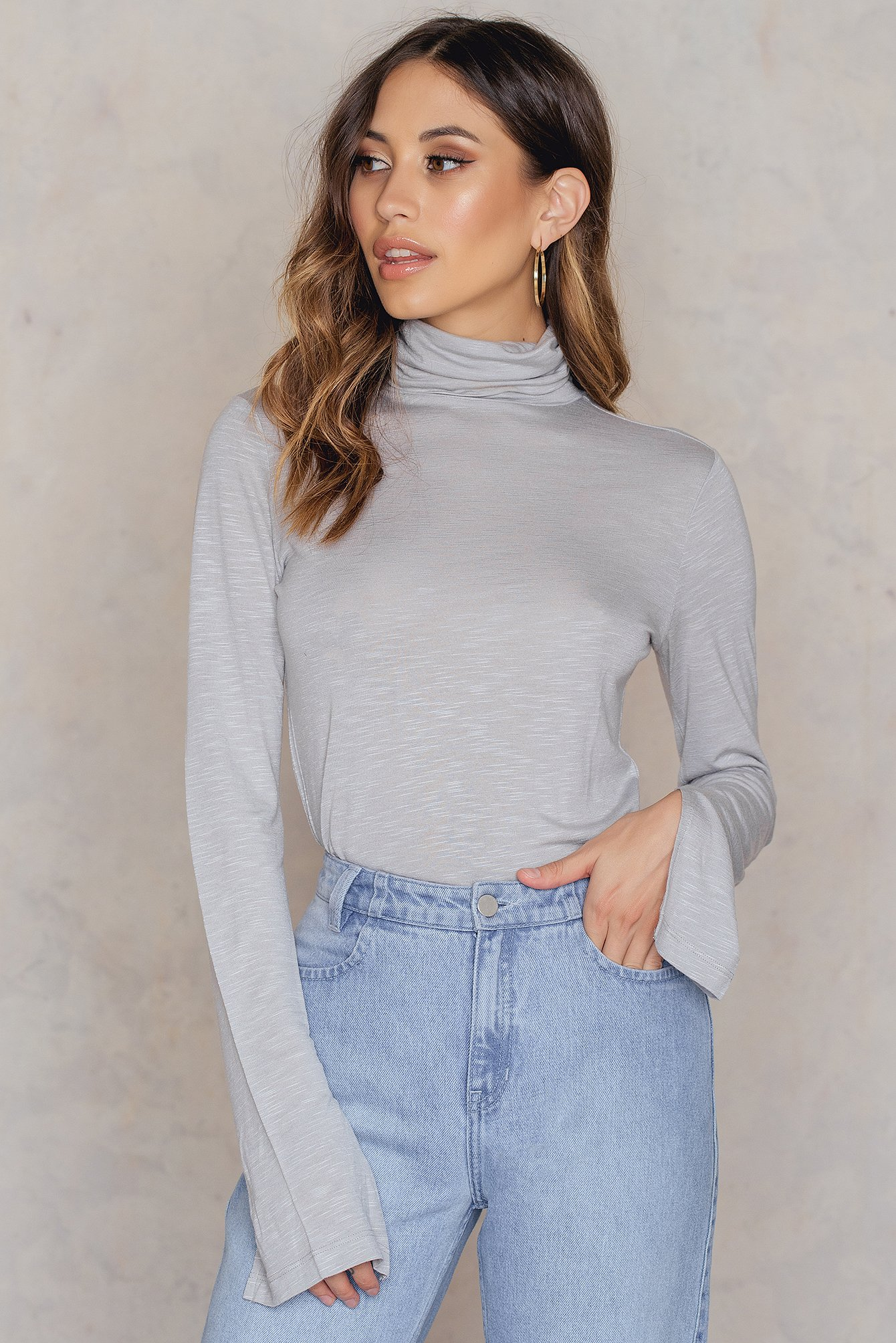na-kd -  Light Knit High Neck Sweater - Grey