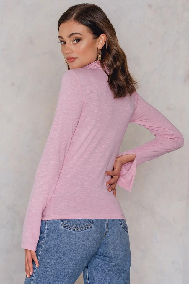 Light Knit High Neck Sweater Pink Melange