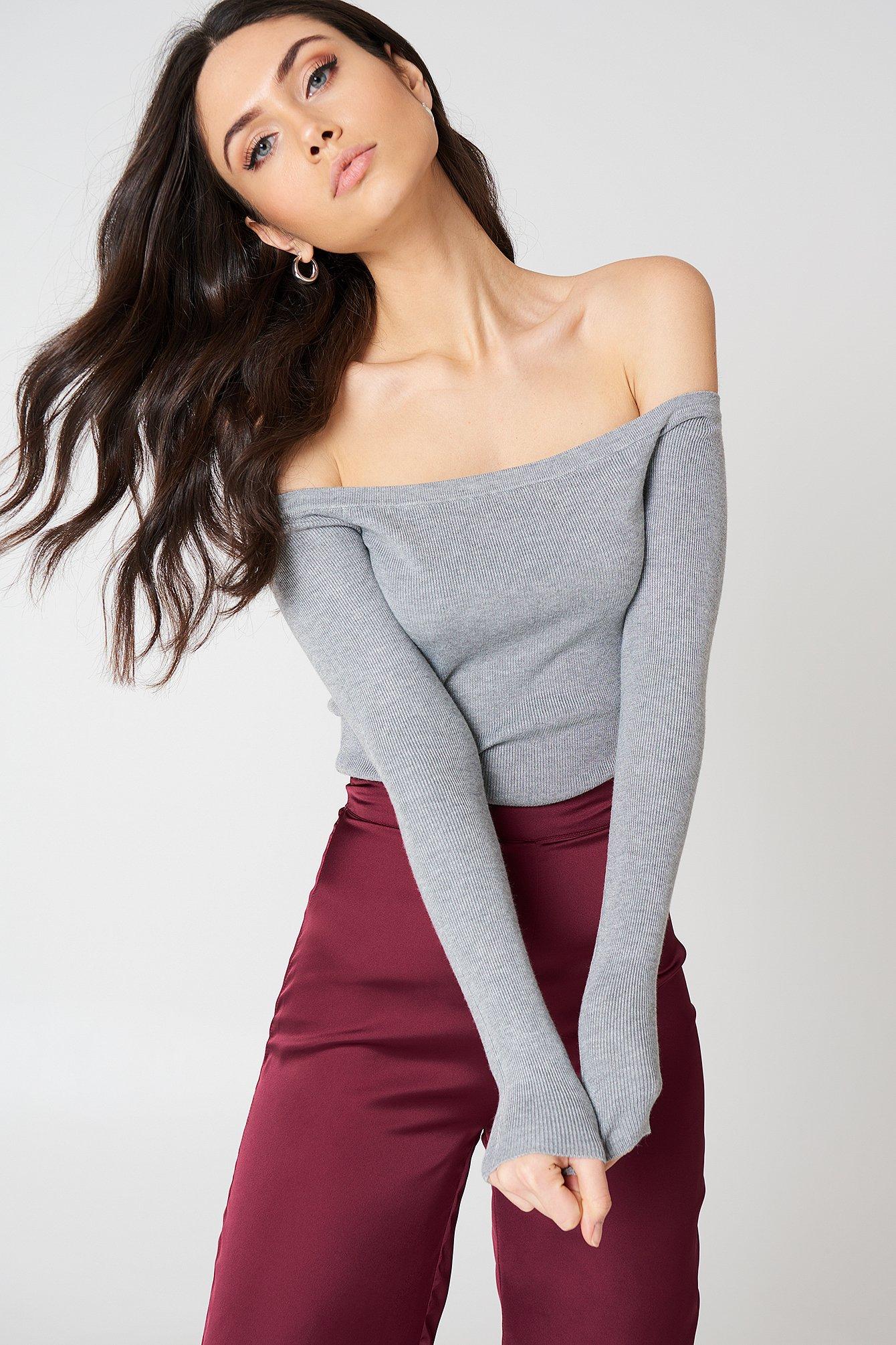 na-kd -  Light Knit Off Shoulder Sweater - Grey