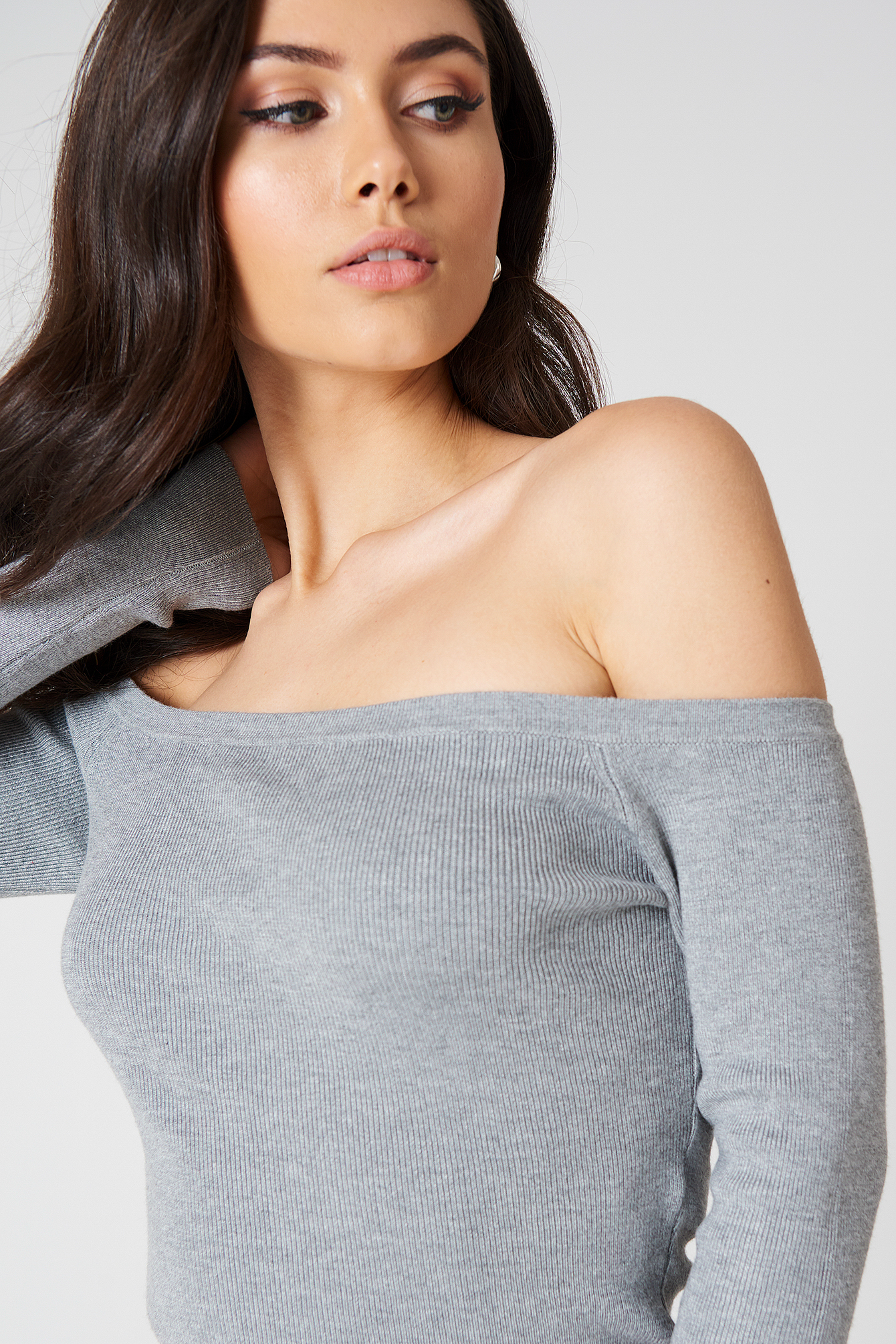 Light Knit Off Shoulder Sweater NA-KD.COM
