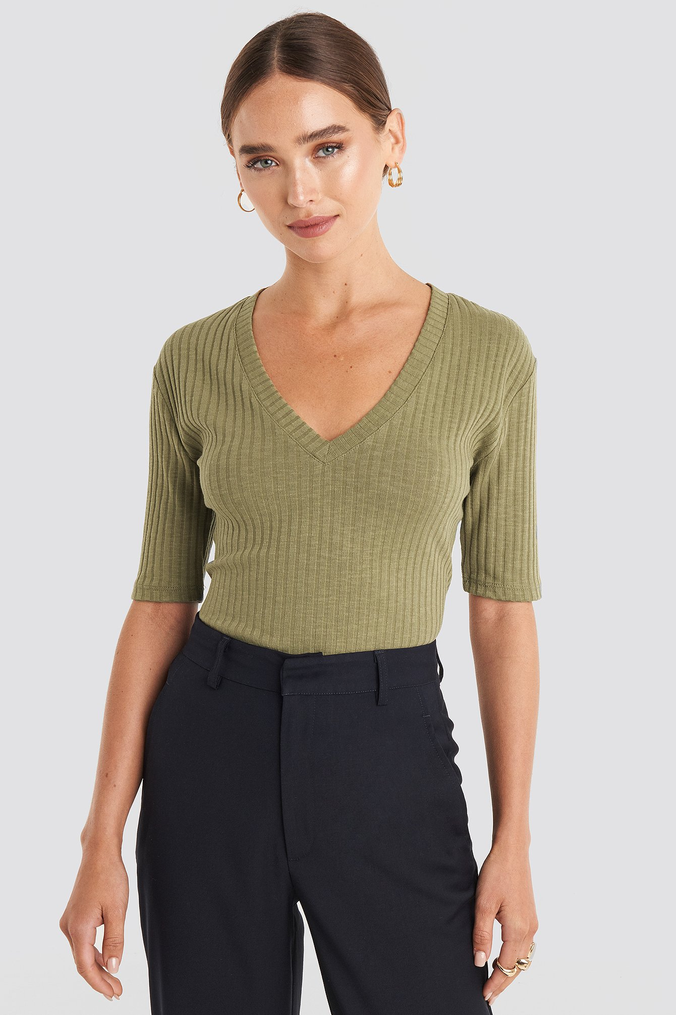 na-kd trend -  Light Knit V Front Sweater - Green