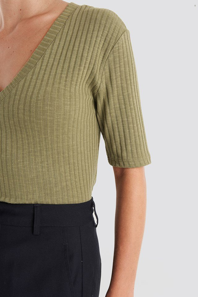 Light Knit V Front Sweater Khaki