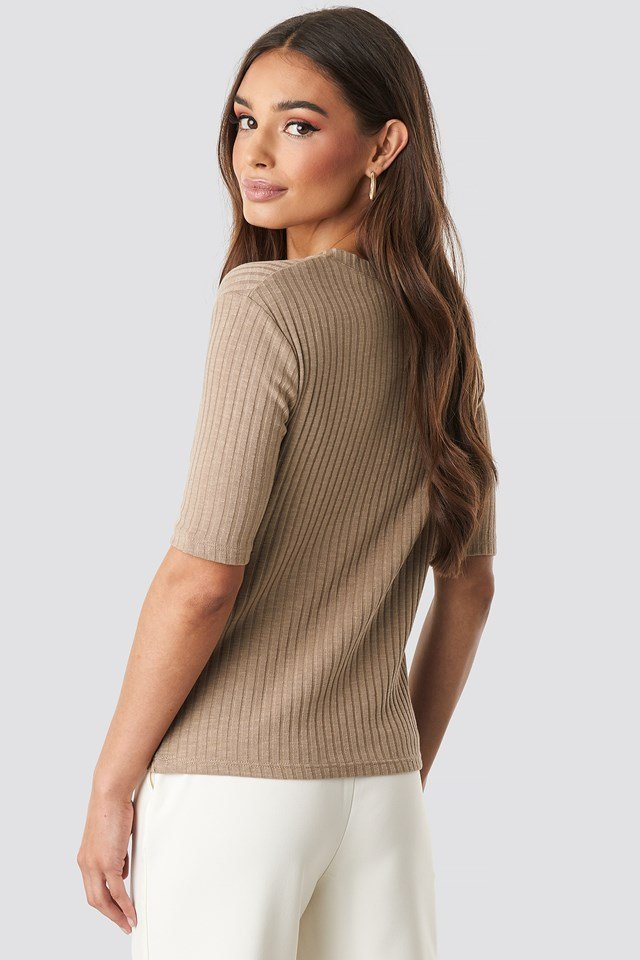Light Knit V Front Sweater Beige