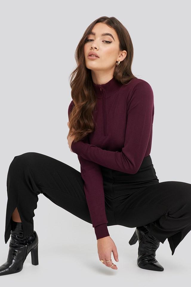 Light Knit Zipped Sweater Burgundy