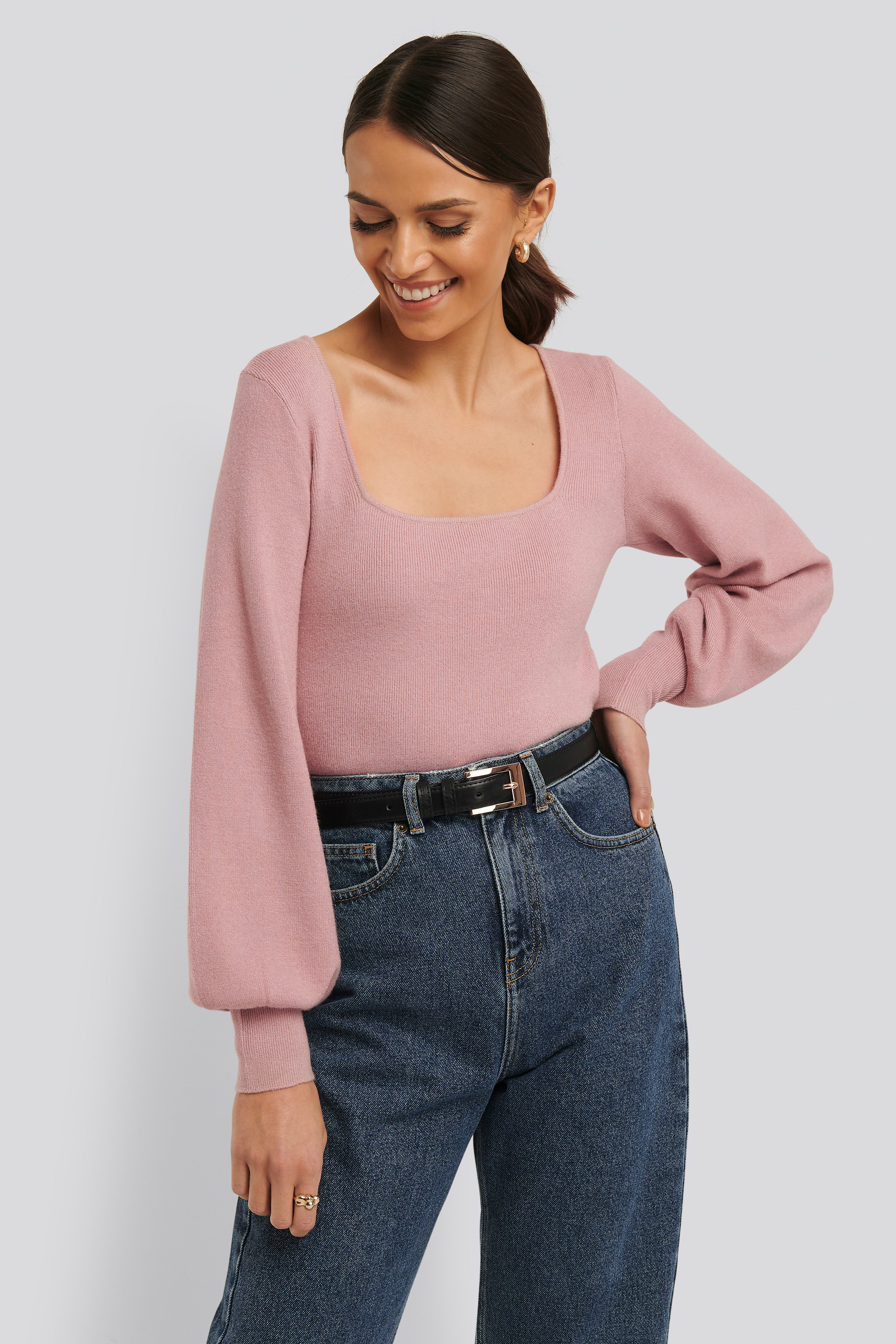 Dusty Pink Light Knitted Balloon Sleeve Sweater