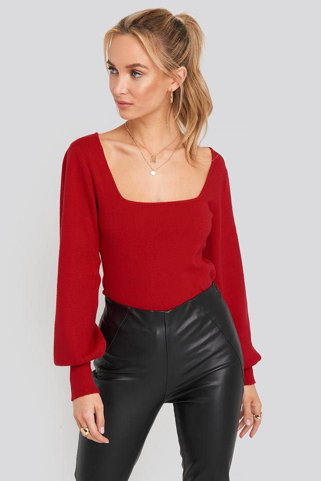 Light Knitted Balloon Sleeve Sweater Red