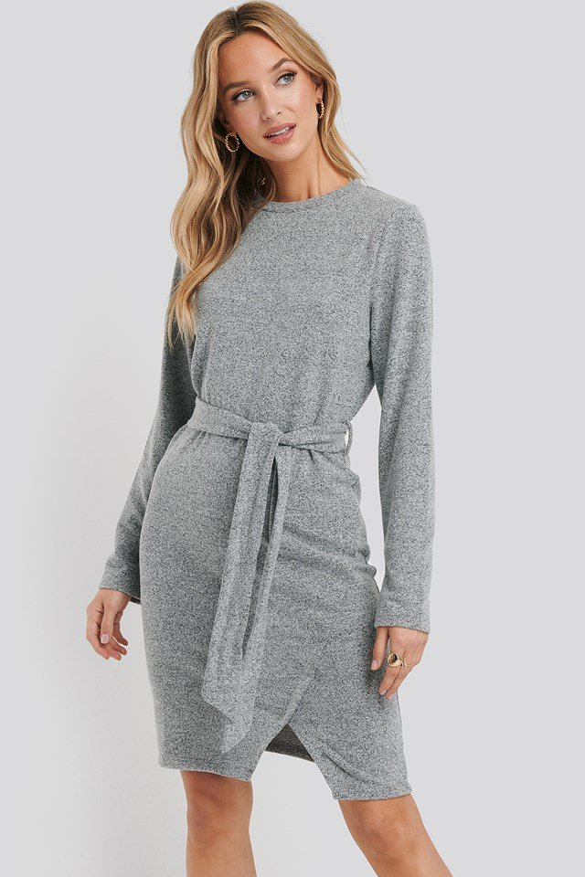 Light Knitted Belted Dress Grey Melange