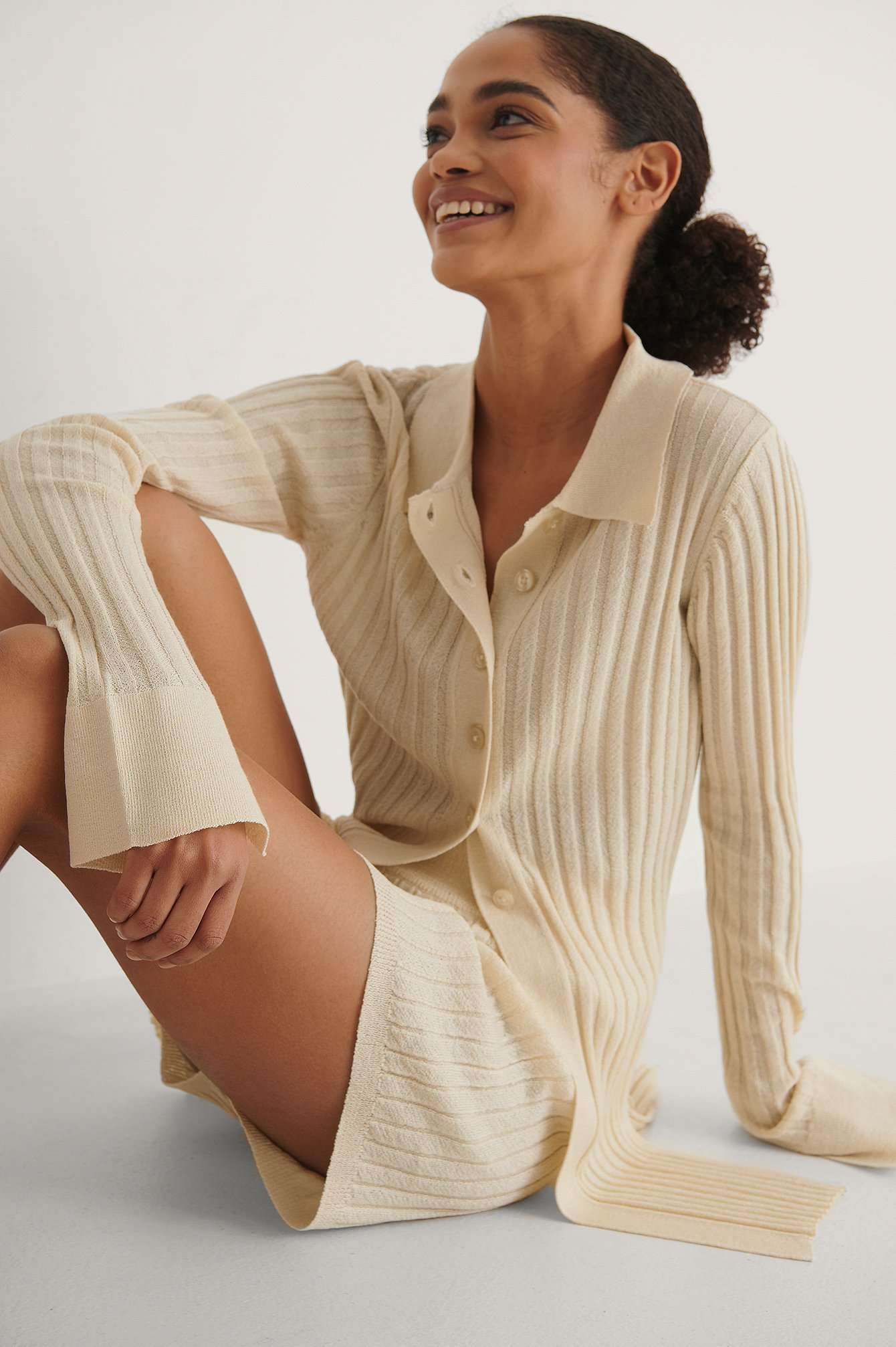 Light Beige Light Knitted Ribbed Long Sleeve Sweater