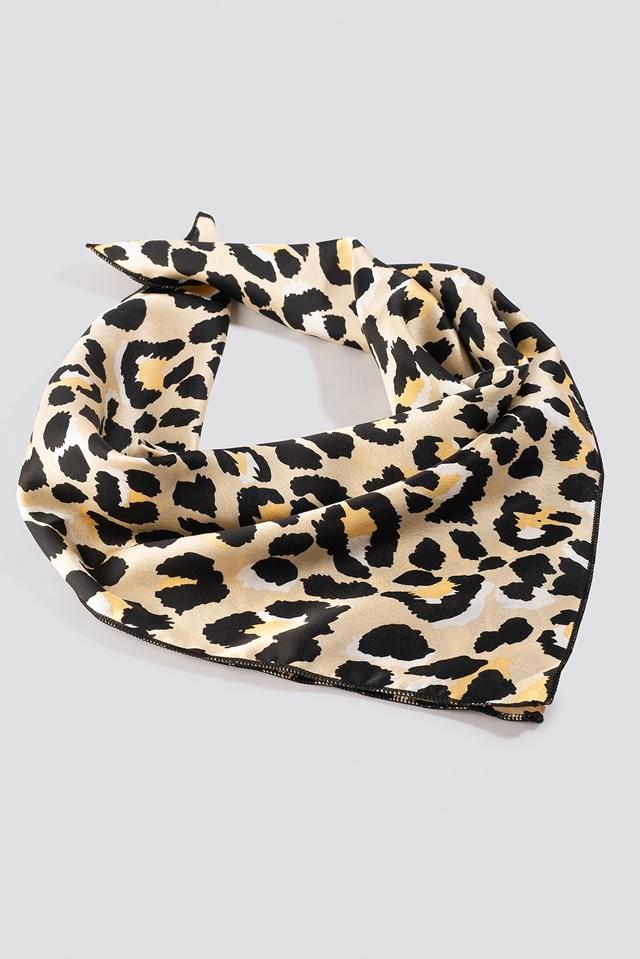 Light Leopard Satin Scarf Leopard