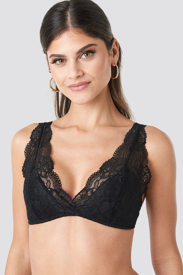 Light Padded Floral Lace Bra Black