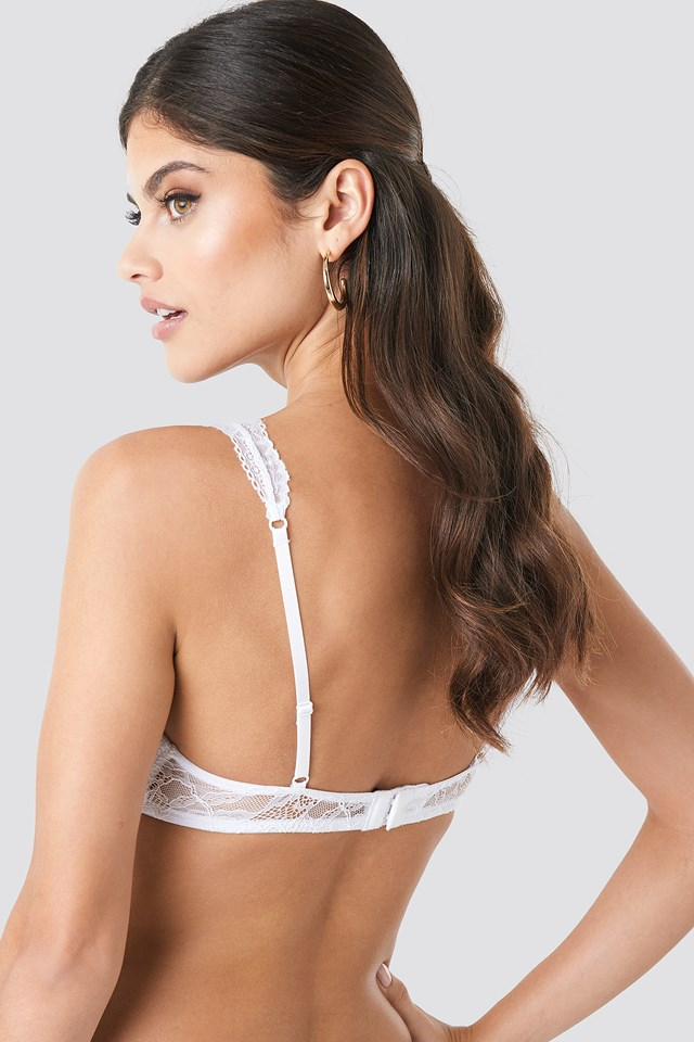 Light Padded Floral Lace Bra White