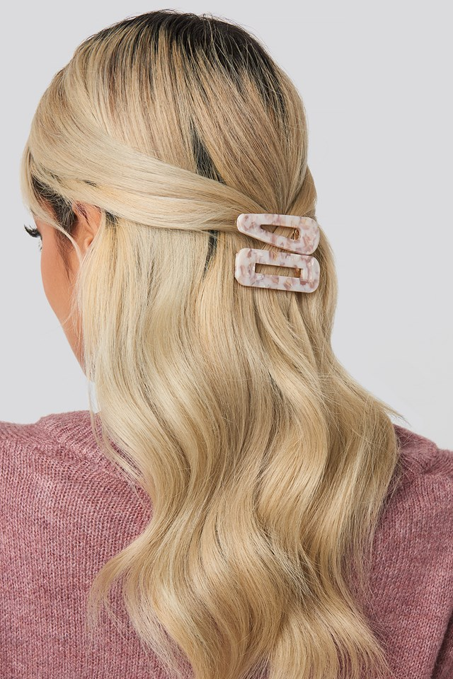 Light Stony Hairclips Offwhite/Pink