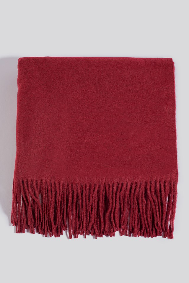 Light Wool Blend Scarf Wine Red