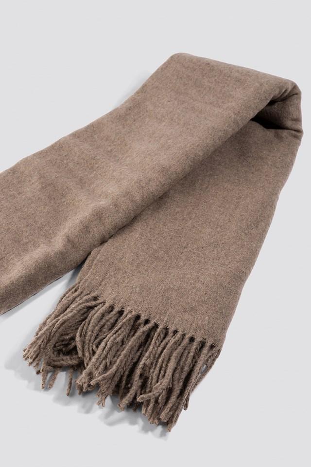 Light Wool Blend Scarf Dusty Sand