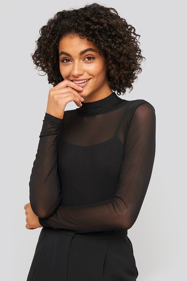 Lined Mesh Polo Body Black