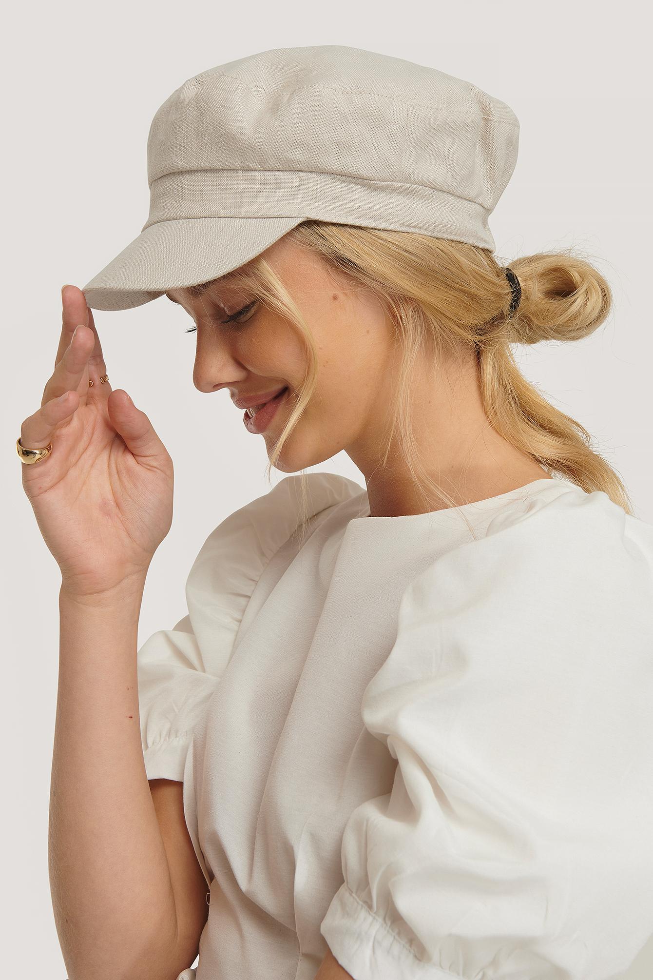 na-kd accessories -  Linen Bakerboy Cap - Beige