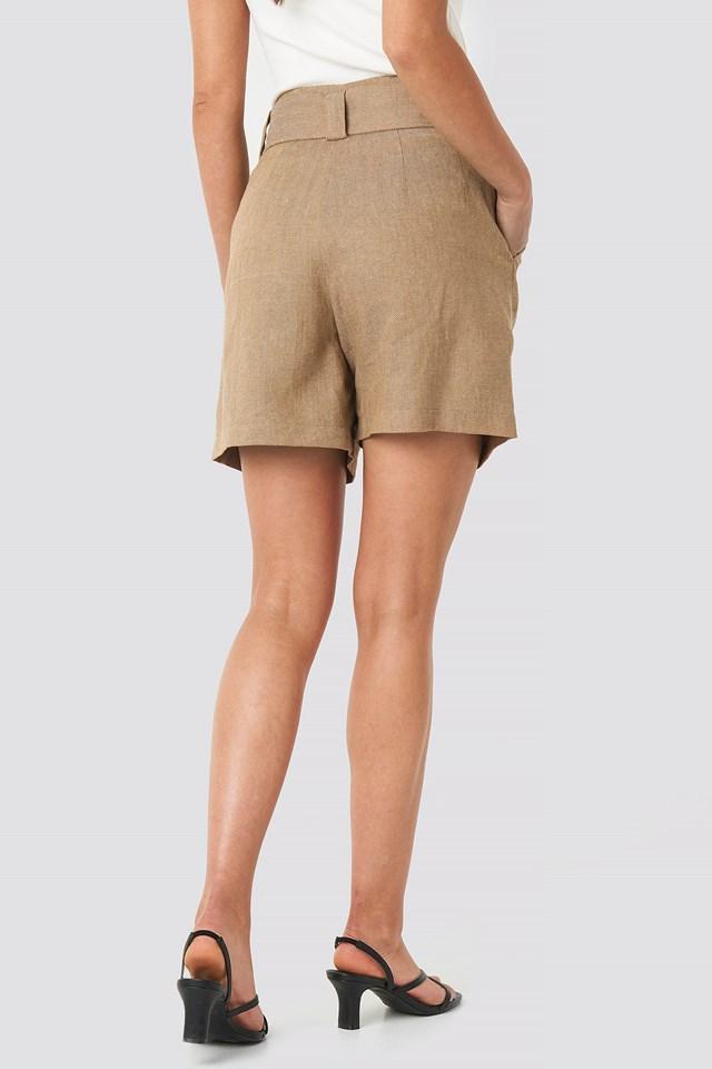 Linen Blend Belted Shorts Dark Beige