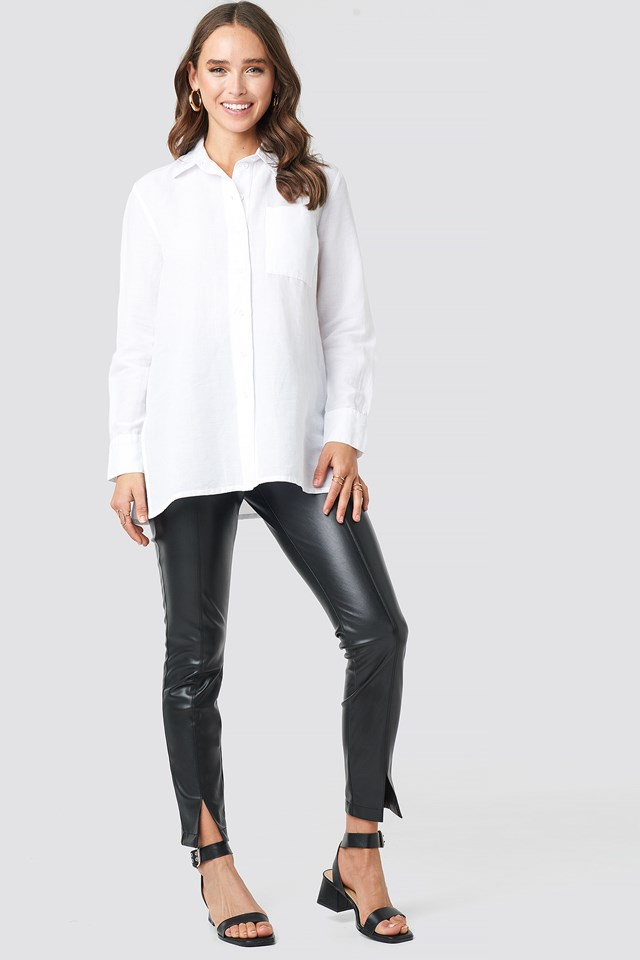 Linen Blend Button Up Shirt White