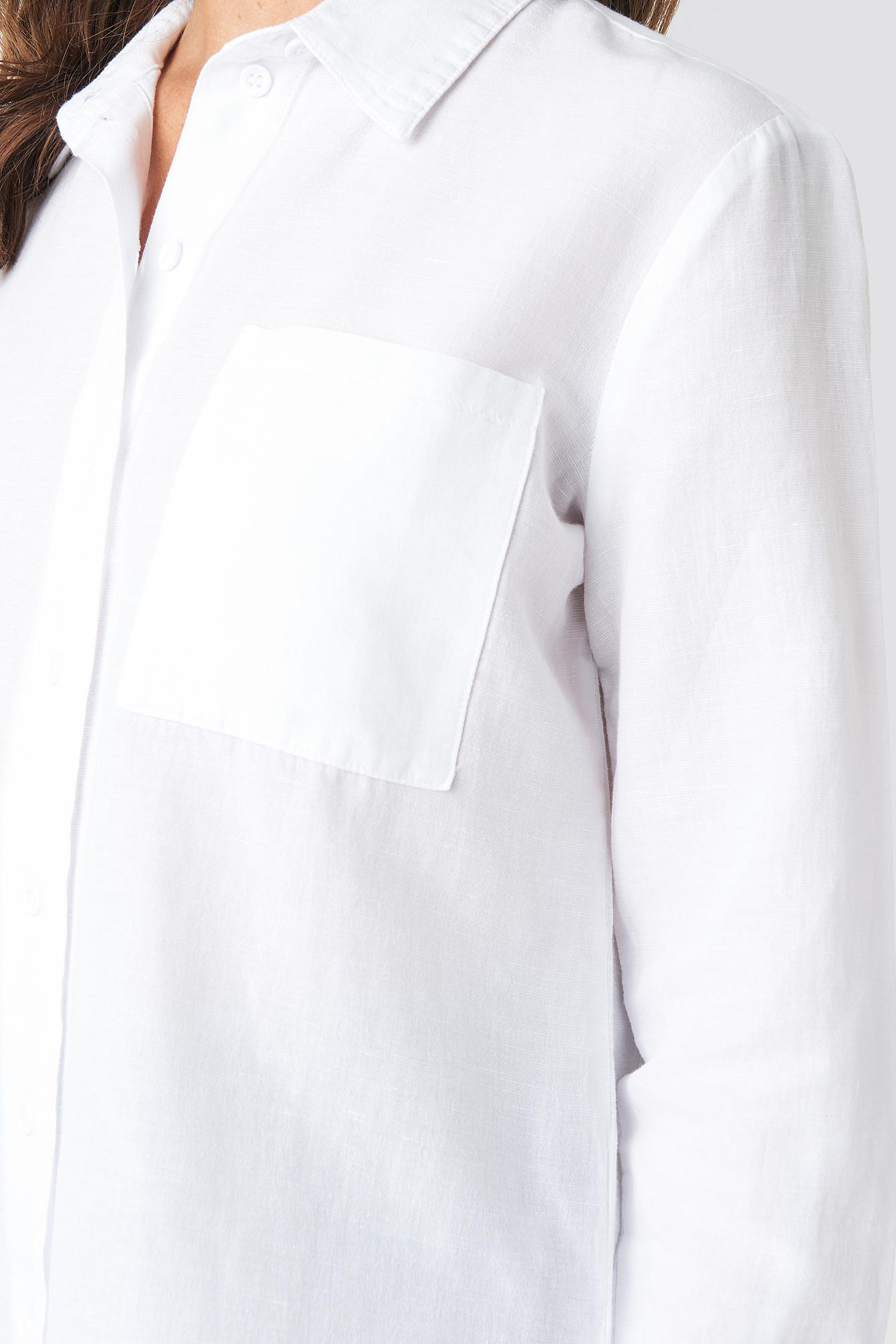 Linen Blend Button Up Shirt NA-KD.COM